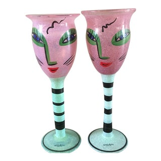 """Kosta Boda """"Open Minds"""" Goblets - A Pair For Sale"""