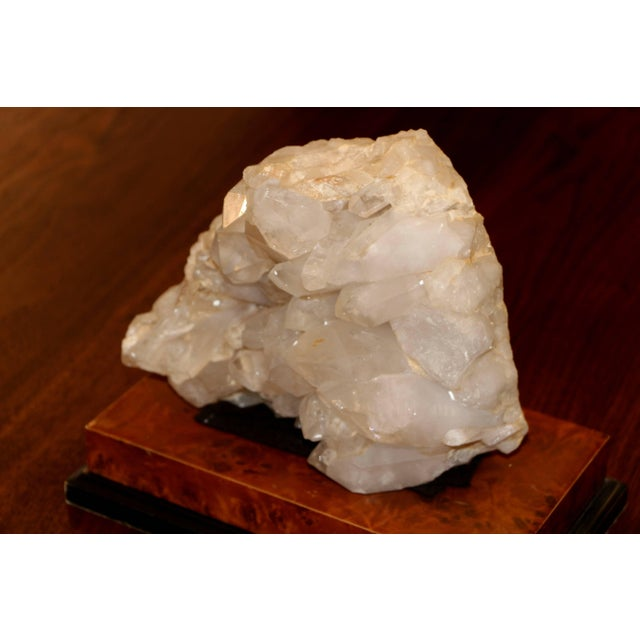 Contemporary Large Quartz Crystal Specimen on Separate Leather Covered Wood Base For Sale - Image 3 of 8