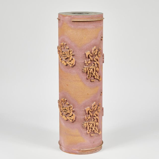Textile print roll in ceramic from early 20th century France.