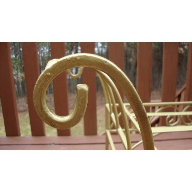 Metal French Art Deco Scroll Bench in Gold Tone - Image 11 of 11