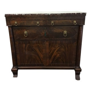 19th Century French Empire Marble Top Mahogany Butler's Cabinet For Sale