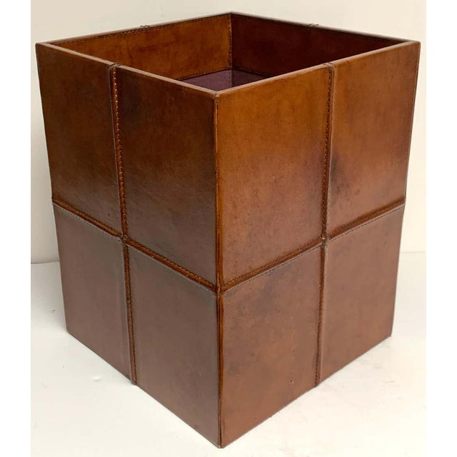 Brown French Modern Stitched Leather Cube Wastepaper Basket For Sale - Image 8 of 9