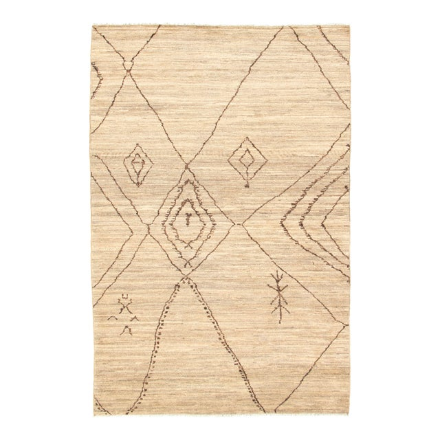 Moroccan Style Hand-Knotted Rug For Sale