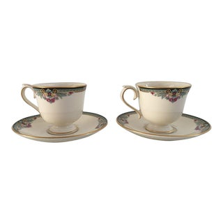 Lenox Newbury Square Teacups & Saucers - a Pair