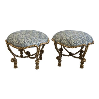 Century Gold Rope Footstools - A Pair For Sale