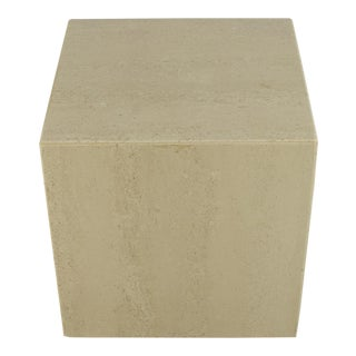 Vintage Italian Travertine Cube Table For Sale