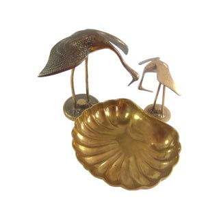Brass Cranes & Shell Catchall - Set of 3