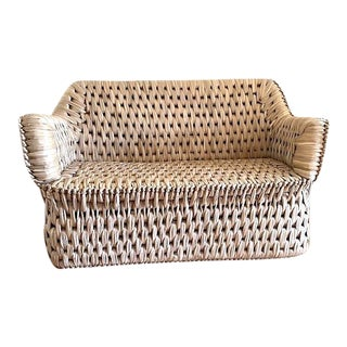 Handwoven Tule Palm Settee For Sale