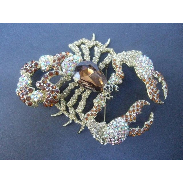 Contemporary Massive Glittering Crystal Scorpion Brooch For Sale - Image 3 of 6