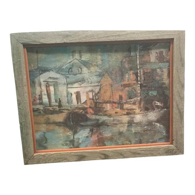 Mid Century Acrylic Painting of a Boat Scene by Emily Spencer For Sale