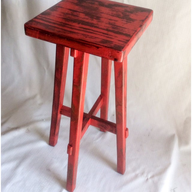Hand Made Distressed Red Square Bar Stool - Image 7 of 9