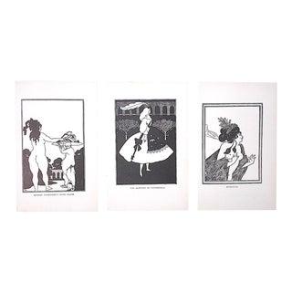Vintage Art Nouveau Lithographs-Aubrey Beardsley-Set of 3 For Sale