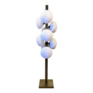 Modern White Frosted Globe Floor Lamp For Sale