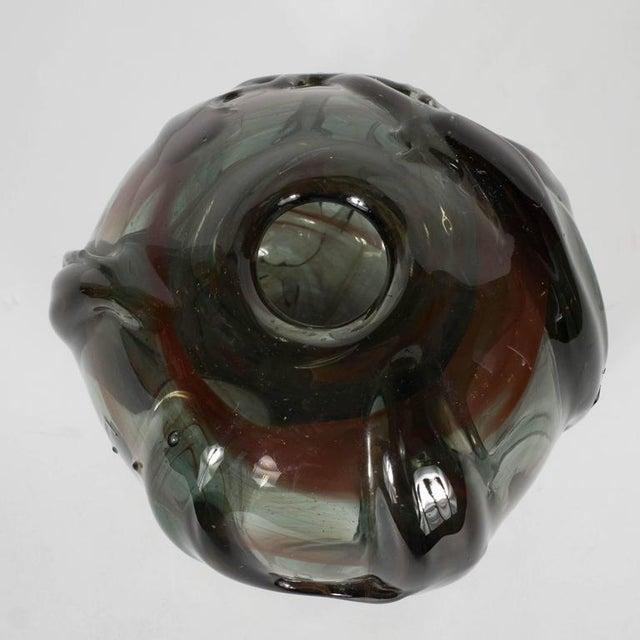 1950s Mid-Century Modernist Handblown Smoked Tourmaline / Cinnabar Murano Glass Vase For Sale - Image 5 of 11