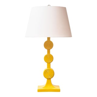 Mid-Century Yellow Ceramic Lamp For Sale