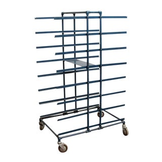 Blue Iron Cart on Wheels For Sale
