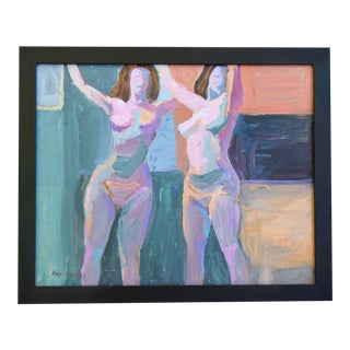 Modern Ray Cuevas, Plein Air Oil Painting Female Nudes For Sale