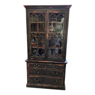 Antique Glass Door Painted Bookcase For Sale