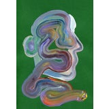 """Image of """"Green Wiggle"""" Contemporary Abstract Acrylic Painting For Sale"""