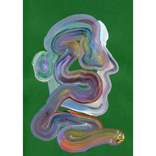 """""""Green Wiggle"""" Contemporary Abstract Acrylic Painting"""