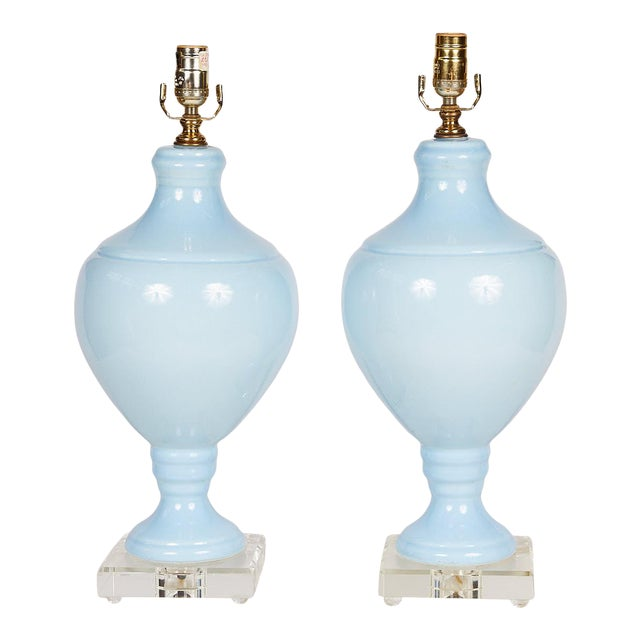 Pair of Blue Porcelain Urn Lamps on Lucite Bases For Sale