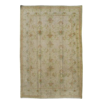 Antique Spanish Rug With Floral Yellow -Green, Light Brown, Acid Green and Ivory For Sale