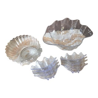 1980s Collection of Lucite Shell Serveware - Set of 11 For Sale