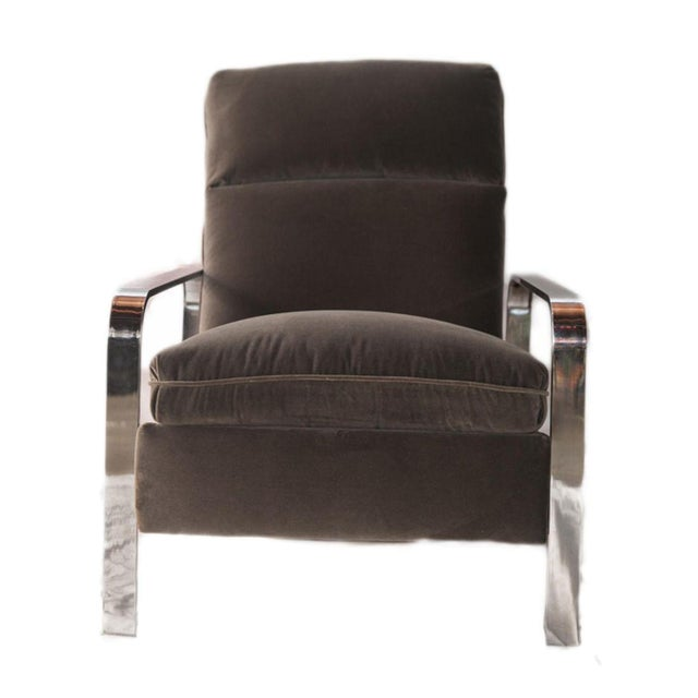 Milo Baughman Style Chrome Recliner - Image 1 of 4