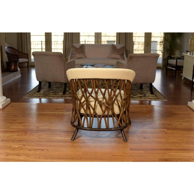 Palecek Stunning Pair of Rattan Club Chairs in Parchment Leather For Sale - Image 4 of 10