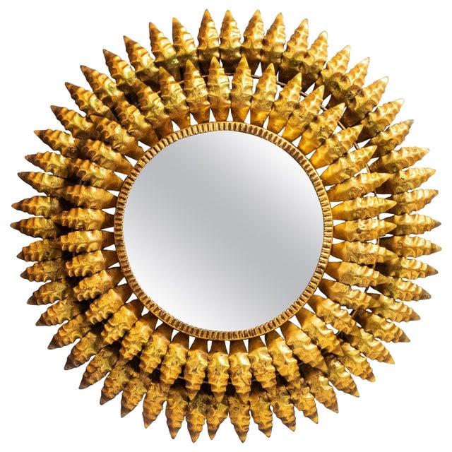 French Gilt Metal Sunburst Mirror For Sale - Image 13 of 13
