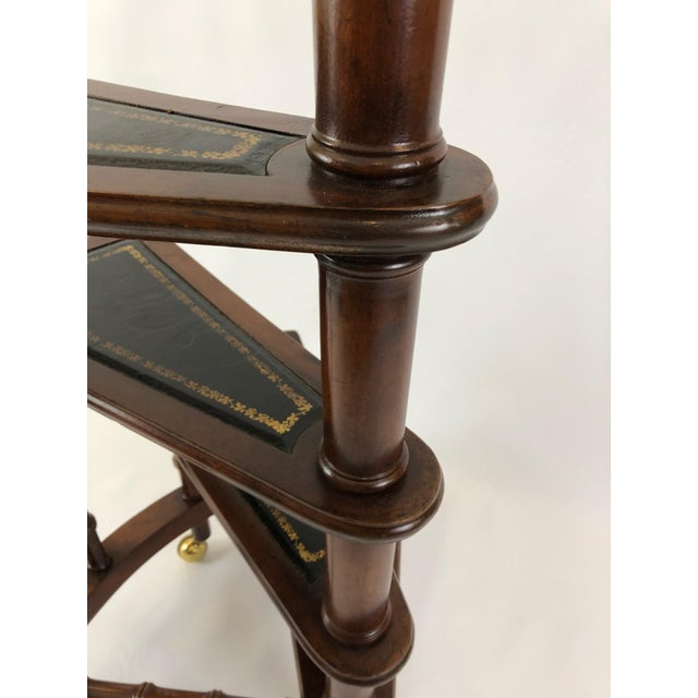 1980s Vintage English Style Decorative Mahogany & Embossed Leather Library Stairs For Sale In Philadelphia - Image 6 of 12