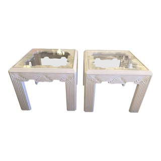 Vintage Modern White Lacquered Wavy End Side Tables -A Pair