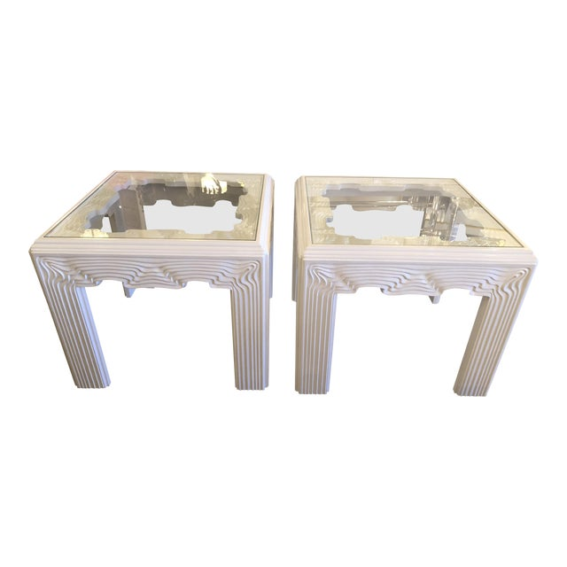 Vintage Modern White Lacquered Wavy End Side Tables -A Pair For Sale
