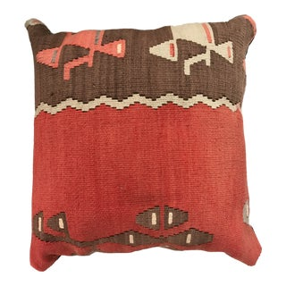 Vintage Turkish Kilim Pillow - 20ʺW × 20ʺH For Sale