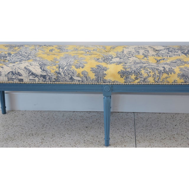 French-Style Yellow, White & Blue-Gray Toile Bench For Sale - Image 4 of 13