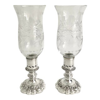 Antique English Silver Hurricane Lamps/Candlesticks - a Pair For Sale