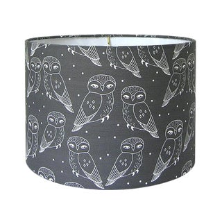 Owls Print Charcoal Drum lampshade For Sale