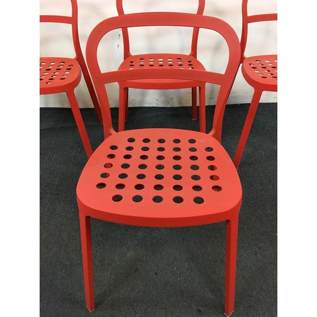 Set of 4 Contemporary Painted Red Metal Side Chairs - Image 3 of 7