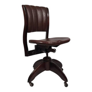 Vintage Leather Office Chair C. 1930 For Sale