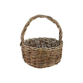 "Vintage Farmhouse Woven Natural Grape Vine 18"" Basket For Sale"