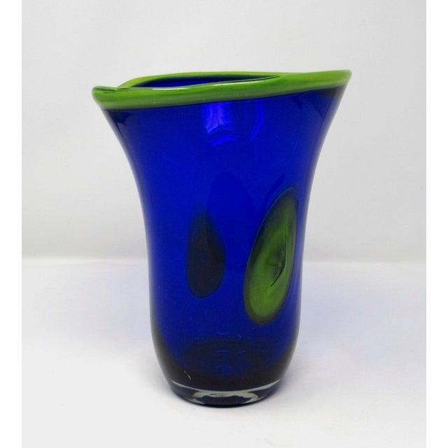 Hand Blown Freeform Cobalt Art Glass Vase For Sale - Image 4 of 11