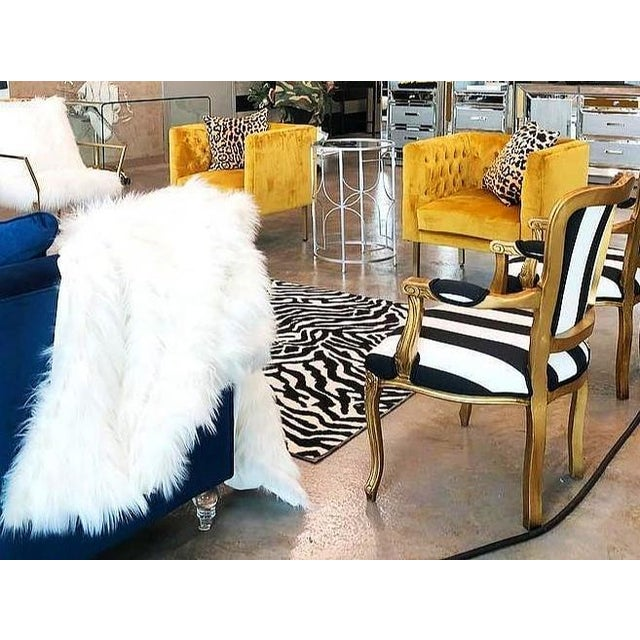 Metal Vintage Louis XV Style Gold Black and White Stripe Chairs - a Pair For Sale - Image 7 of 7