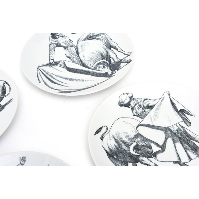 Italian 1950s Piero Fornasetti Porcelain Bullfight Plates - Set of 6 For Sale - Image 3 of 11
