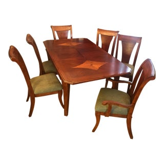 Biedermeier Style Inlaid Wood Dining Table and Chairs For Sale