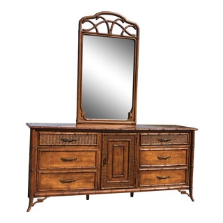Fretwork Faux Bamboo Cane Dresser & Mirror by Stanley For Sale