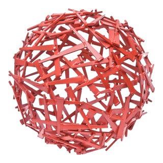"Signed Limited Edition Red Enameled Steel Sculpture Entitled ""Veiled"""