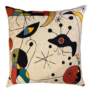Joan Miro Style Hand Embroidered Chain Stitch Pillow For Sale