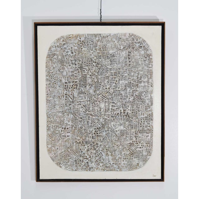 Abstract Brutalist Style Textured Art on Masonite For Sale - Image 10 of 10