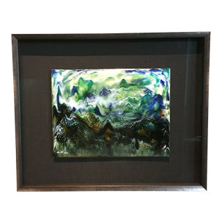 "Contemporary Abstract Framed Enamel Painting on Copper Untitled ""VII ""by Ming Chiao Kuo For Sale"