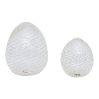 Set of Two Murano Glass Eggs For Sale